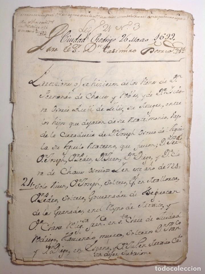 Manuscritos antiguos: 1724 Ciudad Rodrigo * extenso manuscrito 36 pag * herencia inventarios importante familia * Luis I - Foto 2 - 191112903