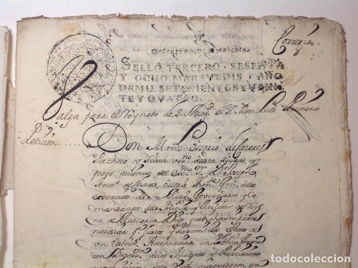 Manuscritos antiguos: 1724 Ciudad Rodrigo * extenso manuscrito 36 pag * herencia inventarios importante familia * Luis I - Foto 3 - 191112903