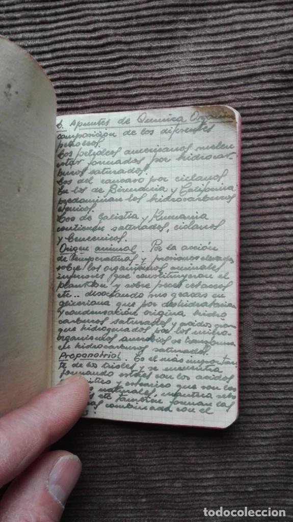 Manuscritos antiguos: Agenda de apuntes de química década de los 50 más o menos - Foto 2 - 191260737