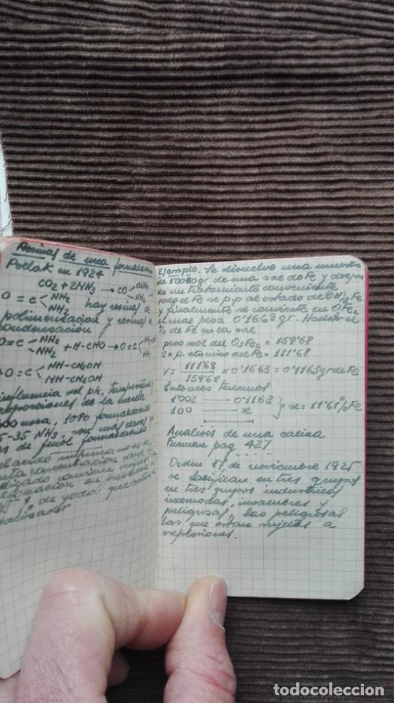 Manuscritos antiguos: Agenda de apuntes de química década de los 50 más o menos - Foto 3 - 191260737