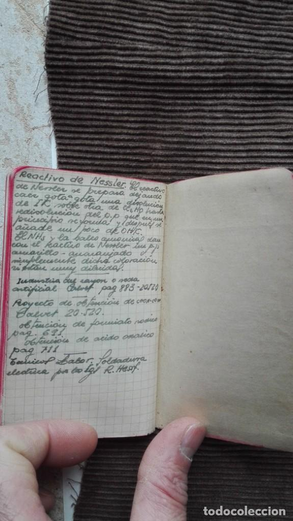 Manuscritos antiguos: Agenda de apuntes de química década de los 50 más o menos - Foto 4 - 191260737