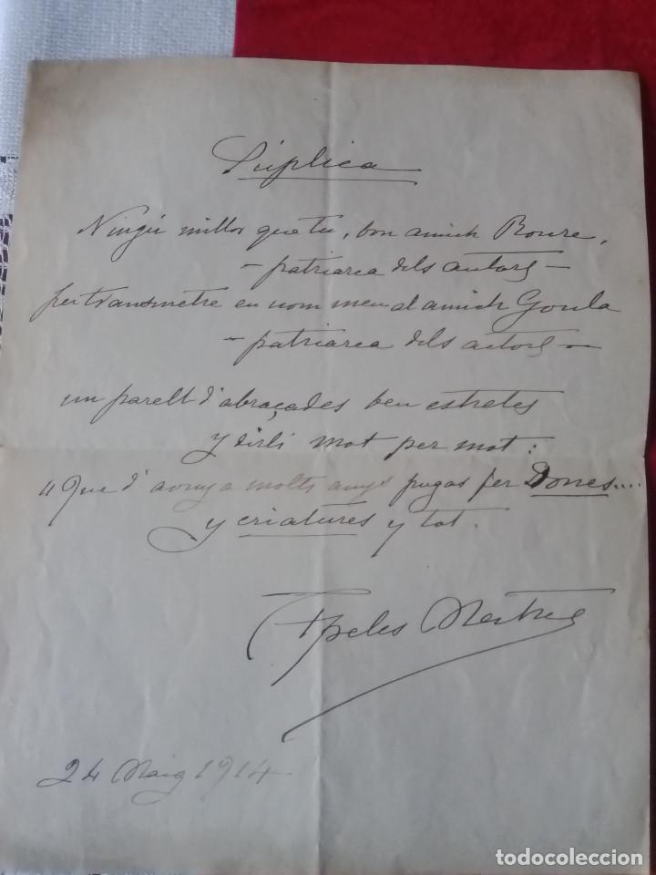 TC-7.- CARTA MANUSCRITA DEL DIBUJANTE - APELES MESTRES , AL PATRIARCA DELS ACTORS , GOULA 1914 (Coleccionismo - Documentos - Manuscritos)