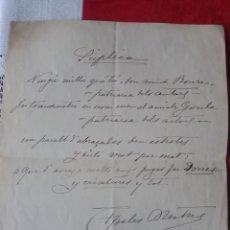 Manuscritos antiguos: TC-7.- CARTA MANUSCRITA DEL DIBUJANTE - APELES MESTRES , AL PATRIARCA DELS ACTORS , GOULA 1914. Lote 191266775