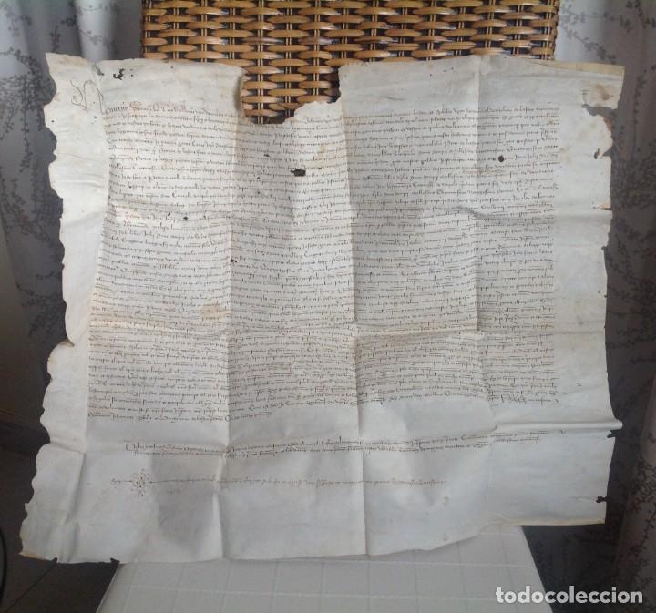 Manuscritos antiguos: 1407 PALMA mallorca * pergamino conquista NOTARIOS DE 1230 Y 1232 * CASAS DE huespedes en Drassanes - Foto 2 - 191450560