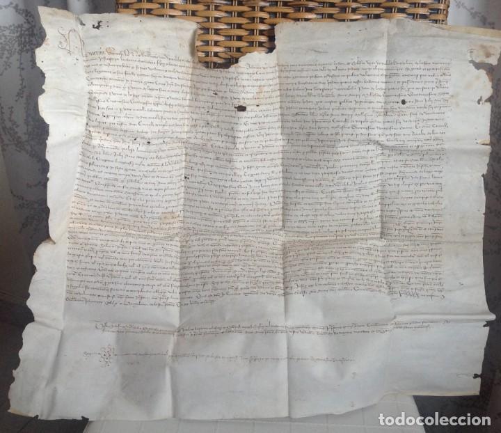Manuscritos antiguos: 1407 PALMA mallorca * pergamino conquista NOTARIOS DE 1230 Y 1232 * CASAS DE huespedes en Drassanes - Foto 3 - 191450560