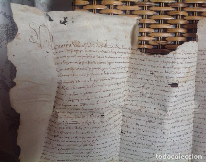 Manuscritos antiguos: 1407 PALMA mallorca * pergamino conquista NOTARIOS DE 1230 Y 1232 * CASAS DE huespedes en Drassanes - Foto 4 - 191450560