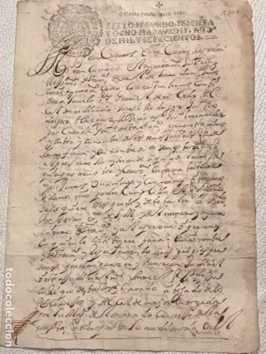 MANUSCRITO AÑO 1700. SELLO SEGUNDO. 68 MARAVEDIS. PAPEL TIMBRADO. FIRMAS. (Coleccionismo - Documentos - Manuscritos)