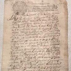 Manuscritos antiguos: MANUSCRITO AÑO 1700. SELLO SEGUNDO. 68 MARAVEDIS. PAPEL TIMBRADO. FIRMAS. . Lote 191626756