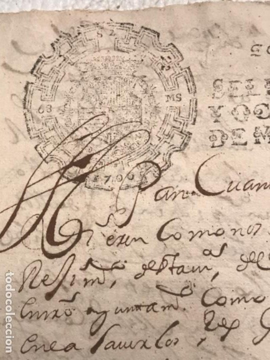 Manuscritos antiguos: MANUSCRITO AÑO 1700. SELLO SEGUNDO. 68 MARAVEDIS. PAPEL TIMBRADO. FIRMAS. - Foto 2 - 191626756