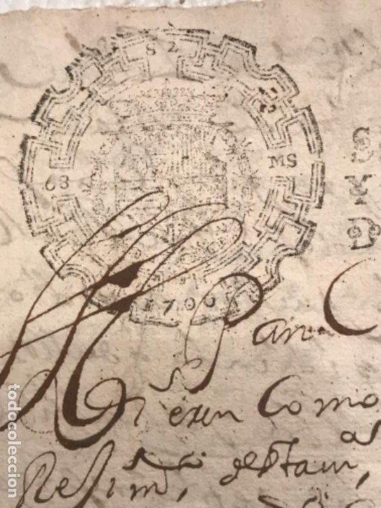 Manuscritos antiguos: MANUSCRITO AÑO 1700. SELLO SEGUNDO. 68 MARAVEDIS. PAPEL TIMBRADO. FIRMAS. - Foto 3 - 191626756