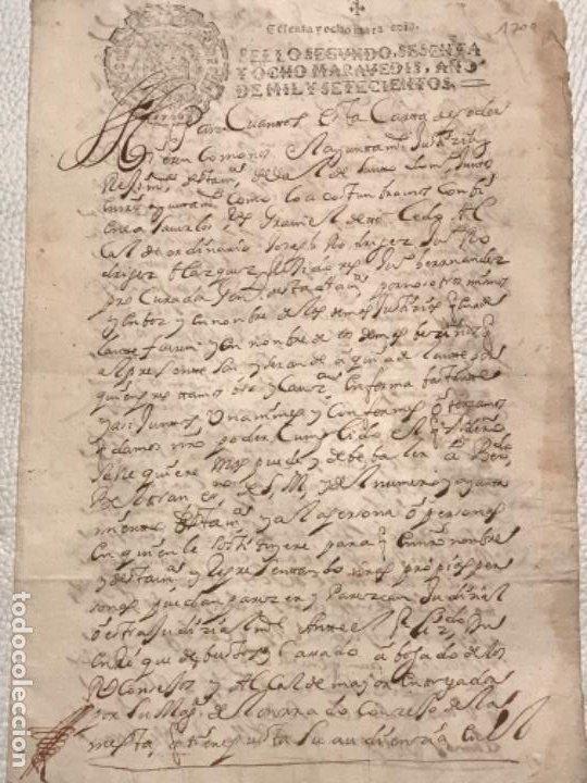 Manuscritos antiguos: MANUSCRITO AÑO 1700. SELLO SEGUNDO. 68 MARAVEDIS. PAPEL TIMBRADO. FIRMAS. - Foto 4 - 191626756