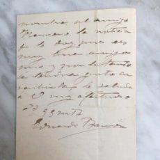 Manuscritos antiguos: CARTA MANUSCRITA EDUARDO BARRON ZAMORA ESCULTURA CASTELAR EN CÁDIZ 1906. Lote 192701945