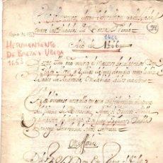 Manuscritos antiguos: ESCRITURA DE CONFEDERACION Y AMISTAD ENTRE LAS CIUDADES DE BAEZA Y UBEDA. JAEN. AÑO 1653. Lote 192988842