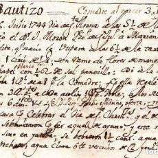 Manuscritos antiguos: MANUSCRITO ORIGINAL CON LA PRIMERA REFERENCIA DE LA HORCHATA EN LA HISTORIA DE VALENCIA AÑO 1744. Lote 193019225
