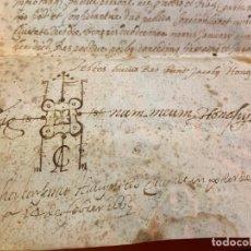 Manuscritos antiguos: ANTIGUO PERGAMINO, ANCIENT PARCHMENT ,MANUSCRITO, DE PIEL. MIDE 42X47CMS. PRECIOSA ESCRITURA Y FIRMA. Lote 193840888