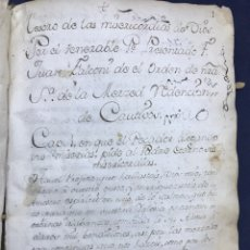 Manoscritti antichi: MANUSCRITO. JUAN FALCONI ORDEN DE LA MERCED REDENCIÓN CAUTIVOS. TESORO MISERICORDIA. PERGAMINO,. Lote 194067650