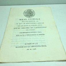 Manuscritos antiguos: REAL CEDULA REY CARLOS IV - DELITO DE LENOCINIO - AÑO 1798. Lote 194148596