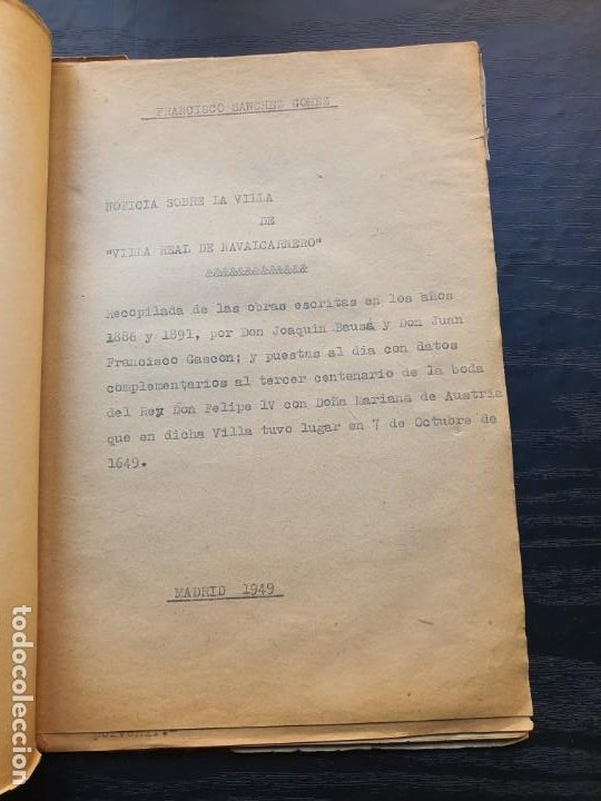 Manuscritos antiguos: 1949. NOTICIA SOBRE LA VILLA REAL DE NAVALCARNERO, POR FRANCISCO SÁNCHEZ GÓMEZ - Foto 2 - 194205403