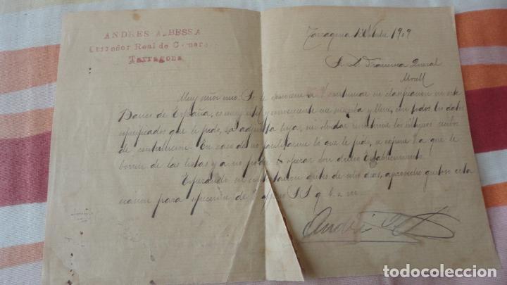 ANTIGUA CARTA.ANDRES A.BESSA.CORREDOR COMERCIAL.TARRAGONA 1909. FRANCISCA QUERAL MORELL. (Coleccionismo - Documentos - Manuscritos)