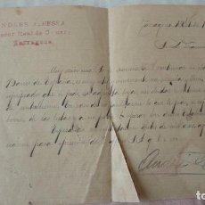 Manuscritos antiguos: ANTIGUA CARTA.ANDRES A.BESSA.CORREDOR COMERCIAL.TARRAGONA 1909. FRANCISCA QUERAL MORELL.. Lote 194217226