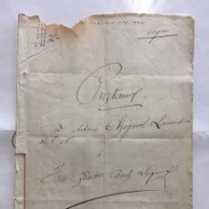 Manuscritos antiguos: CARLET. ADEUDAMIENTO. ESCRIBANO JOSÉ BERNABE SENABRE. AÑO 1893.. Lote 194307770