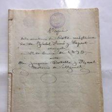 Manuscritos antiguos: ALGINET. ESCRITURA DE DOTE. NOTARIO JOAQUIN BOTELLA Y PASCUAL. AÑO 1893.. Lote 194311612