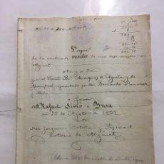 Manuscritos antiguos: ALGINET. VENTA DE UNA CASA MÉSON POR EL EXCMO MARQUÉS DE AGUILAR Y MONISTROL A FAVOR DE RAFAEL SIMO. Lote 194313121