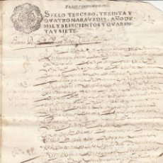 Manuscritos antiguos: 1647 FISCAL SELLO 3º DE 34 MARAVEDIS DOCUMENTO MANUSCRITO PAPEL SELLADO. Lote 194332754