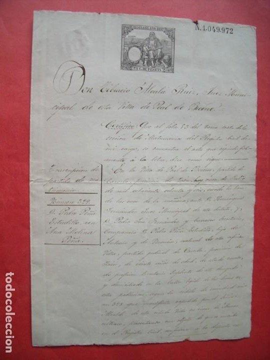 PEDRO PEÑA ESTUDILLO.-TIBURCIO ALCALA RUIZ.-JUEZ MUNICIPAL.-MANUSCRITO.-PEAL DE BECERRO.-AÑO 1887. (Coleccionismo - Documentos - Manuscritos)