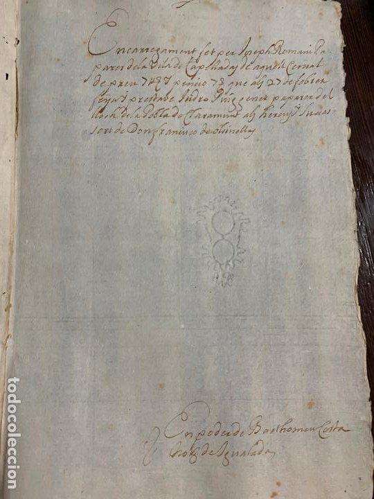 Manuscritos antiguos: Antiguo documento año 1727 - ROMANÍ - interes historia fabricantes de papel, la Torra de Claramunt. - Foto 5 - 194529020