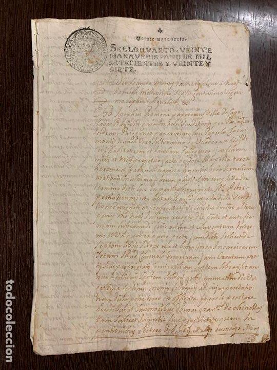 ANTIGUO DOCUMENTO AÑO 1727 - ROMANÍ - INTERES HISTORIA FABRICANTES DE PAPEL, LA TORRA DE CLARAMUNT. (Coleccionismo - Documentos - Manuscritos)