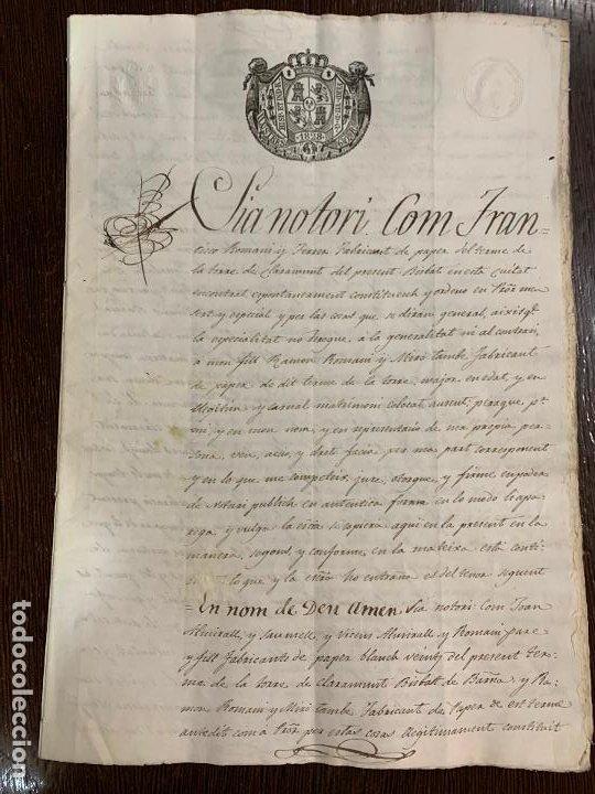 ANTIGUO DOCUMENTO DE 1828 - ALMIRALL,ROMANÍ - HISTORIA FABRICANTES DE PAPEL, LA TORRA DE CLARAMUNT. (Coleccionismo - Documentos - Manuscritos)