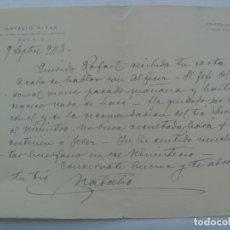 Manuscritos antiguos: CARTA MANUSCRITA CON MEMBRETE Y FIRMA DEL HISTORIADOR NATALIO RIVAS, DE LA REAL ACADEMIA. 1943. Lote 194531880