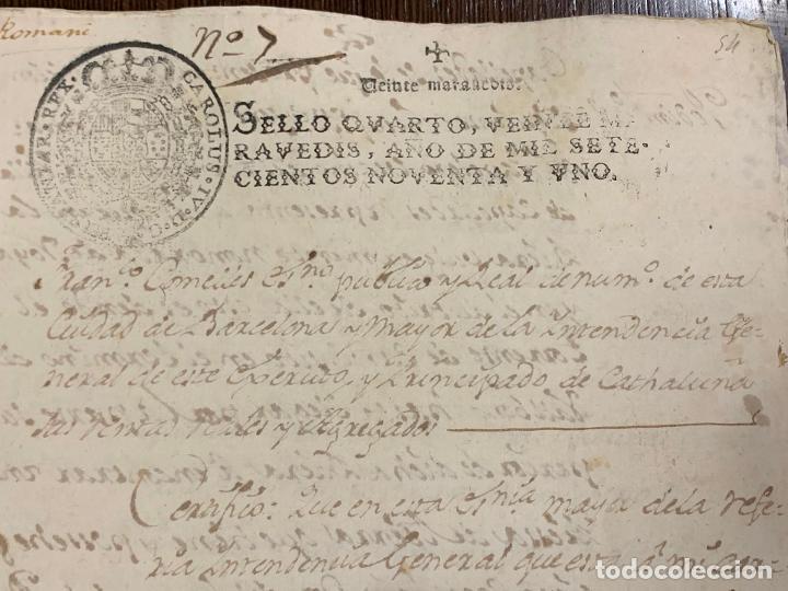 Manuscritos antiguos: Antiguo documento de 1791 - ROMANÍ, COCA - historia fabricantes de papel de Capellades - Foto 2 - 194533841