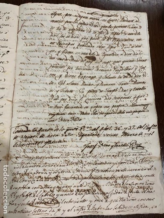 Manuscritos antiguos: Antiguo documento de 1815 - ROMANÍ - historia fabricantes de papel de Capellades, inquisicion - Foto 11 - 194535026