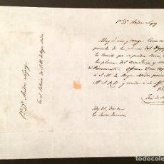 Manuscritos antiguos: CARTA ORIGINAL DE JOSÉ DE MADRAZO DIRIGIDA A MARIA CRISTINA DE BORBON-DOS SICILIAS. Lote 194556047