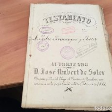 Manuscritos antiguos: TESTAMENTO MANUSCRITO BARCELONA 1891 (AB-1). Lote 194587628