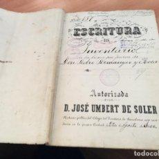 Manuscritos antiguos: ESCRITURA DE INVENTARIO MANUSCRITO BARCELONA 1900 (AB-1). Lote 194587800