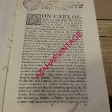 Manuscritos antiguos: 1768, CARTA ORDEN DE CARLOS III PARA MEJORAS DE LA AGRICULTURA EN LA PROVINCIA DE SEVILLA, COLONOS, . Lote 194653566