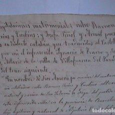 Manuscritos antiguos: MANUSCRITO SOBRE CAPITULACIONES MATRIMONIALES.1867. VILAFRANCA DEL PENEDES.BARCELONA.. Lote 194680025