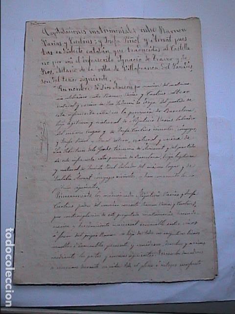 Manuscritos antiguos: MANUSCRITO SOBRE CAPITULACIONES MATRIMONIALES.1867. VILAFRANCA DEL PENEDES.BARCELONA. - Foto 2 - 194680025