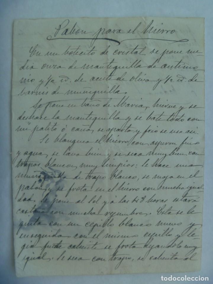 RECETA DE EL PABON PARA EL HIERRO, MANUSCRITO DEL SIGLO XIX (Coleccionismo - Documentos - Manuscritos)