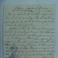 Manuscritos antiguos: RECETA DE EL PABON PARA EL HIERRO, MANUSCRITO DEL SIGLO XIX. Lote 194721241