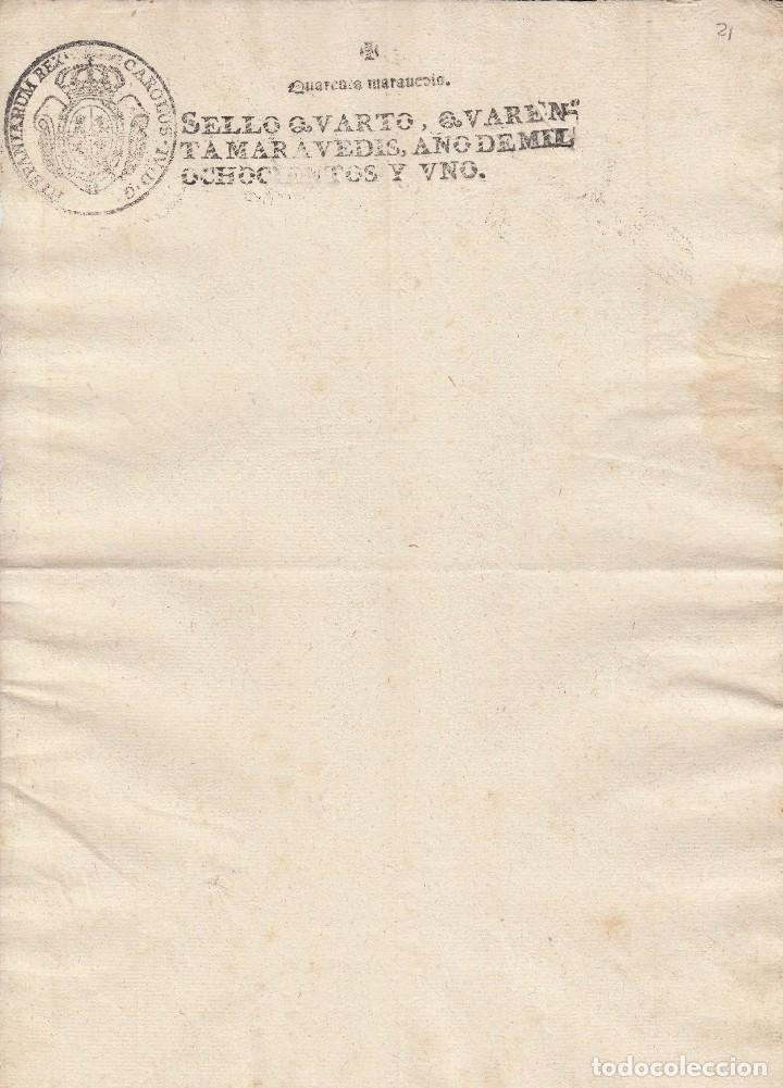 1801 SELLO 4º DE 40 MARAVEDIS. PAPEL SELLADO DOCUMENTO EN BLANCO. TIMBRADO (Coleccionismo - Documentos - Manuscritos)