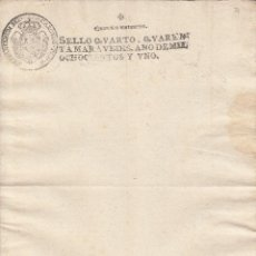 Manuscritos antiguos: 1801 SELLO 4º DE 40 MARAVEDIS. PAPEL SELLADO DOCUMENTO EN BLANCO. TIMBRADO. Lote 194734562