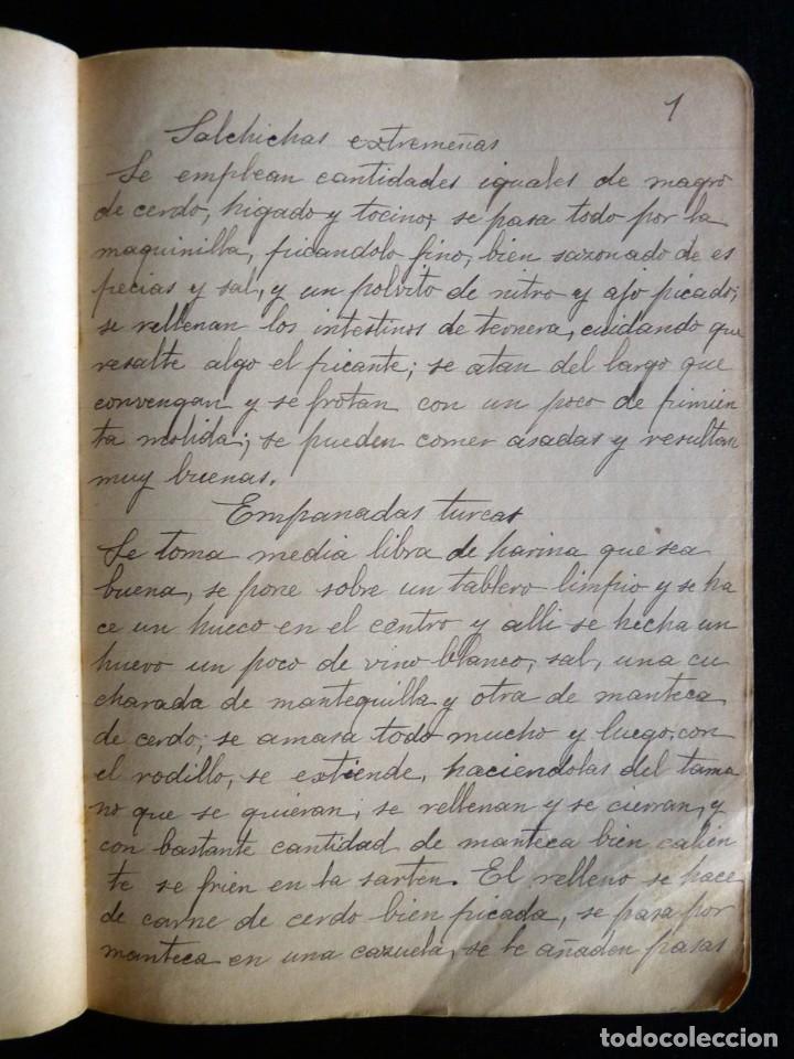 ANTIGUA LIBRETA MANUSCRITA DE 102 PÁGINAS, CON RECETAS DE COCINA. ORIGEN VALENCIA. CIRCA 1900 (Coleccionismo - Documentos - Manuscritos)