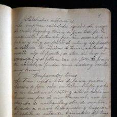 Manuscritos antiguos: ANTIGUA LIBRETA MANUSCRITA DE 102 PÁGINAS, CON RECETAS DE COCINA. ORIGEN VALENCIA. CIRCA 1900. Lote 194748575