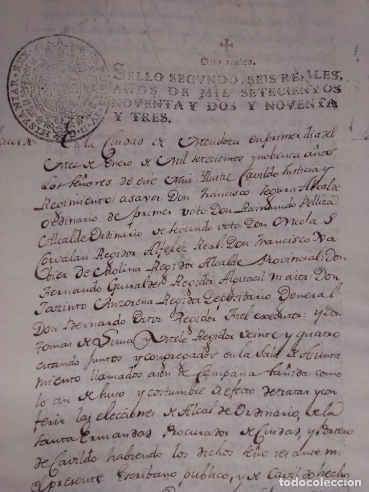 DOCUMENTO HISTORICO DE LA CONFORMACION DEL CABILDO DE MENDOZA AÑO 1793 COMPLETO (Coleccionismo - Documentos - Manuscritos)