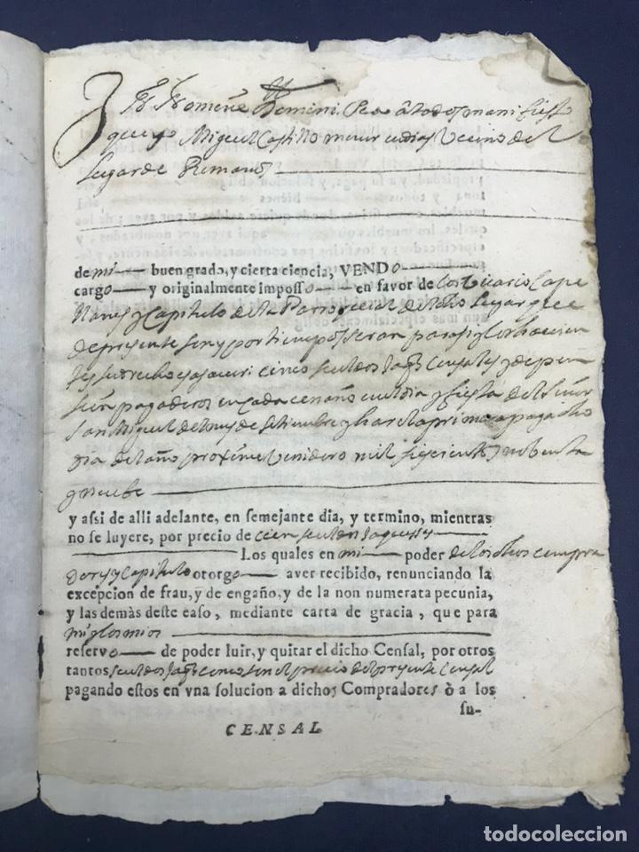 Manuscritos antiguos: 1698. ROMANOS (ZARAGOZA). IMPRESO/MANUSCRITO. CENSO - Foto 2 - 194875200