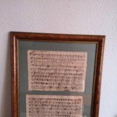 Manuscritos antiguos: MANUSCRITO DE CANCION SIGLO XVII ENMARCADOS EN CAOBA 70X50. Lote 194937505